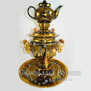 Самовар с росписью золотая хохлома